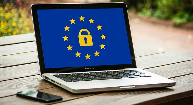 GDPR (General Data Protection Regulations) logo showing on a laptop screen